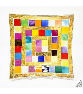 """PLATE """"MOSAIC COLOR/GOLD"""" 6,69 X 6,69"""